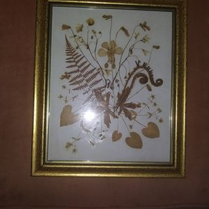 Vintage dried florals framed in gold